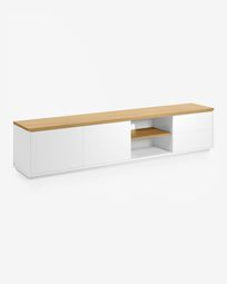 Abilen oak veneer and white lacquer TV stand 200 x 44 cm