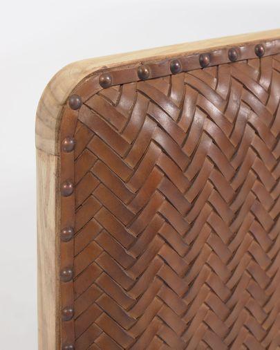 Natesa solid teak and leather headboard, 163 x 60 cm
