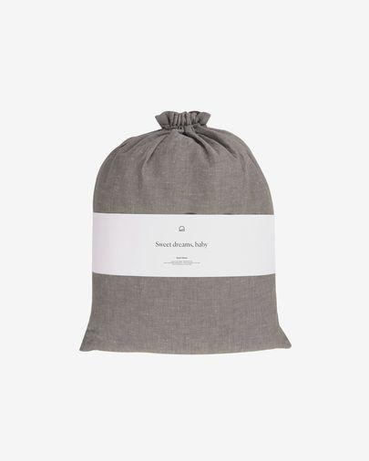 Eglant duvet cover, sheet & pillowcase set in grey GOTS cotton and linen 150 x 190 cm
