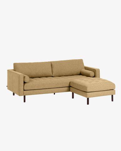 Canapé Debra 3 places avec repose-pieds moutarde 222 cm
