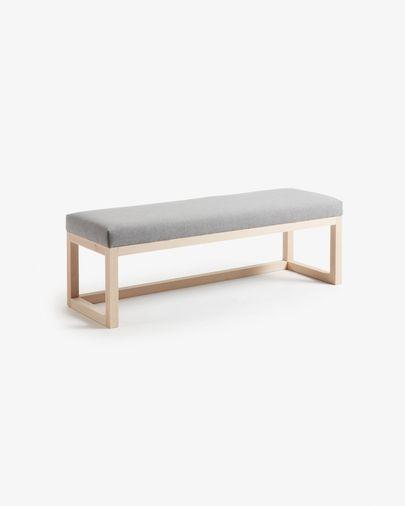 Grey Loya bench in solid beech wood 128 cm