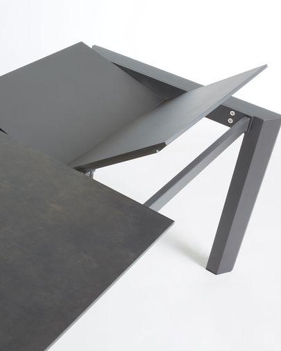 Axis ausziehbarer Tisch 160 (220) cm, Porzellan, Vulcano Roca Finish, anthrazit Beine