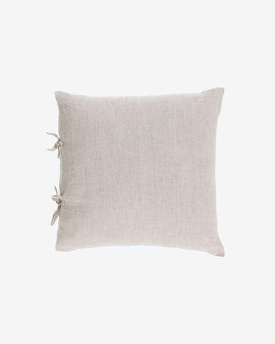 Tazu 100% linen cushion cover in beige 45 x 45 cm