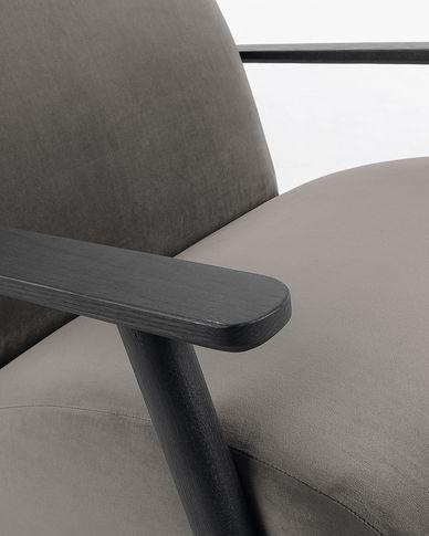 Meghan Sessel Samt mit grauer und massiven Eschenholzbeinen mit Wenge-Finish