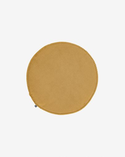 Sora round corduroy chair cushion in mustard, 35 cm