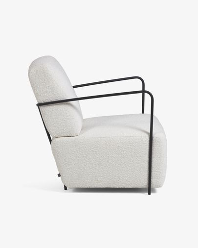 Gamer armchair white shearling effect