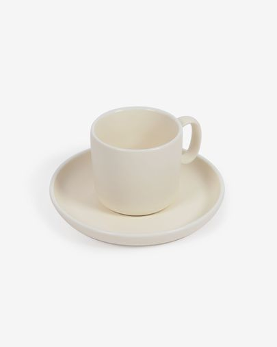 Roperta porcelain coffee cup and saucer in beige