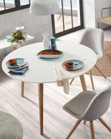 Oqui runder ausziehbarer Tisch 120 (200) x 120 cm weiß