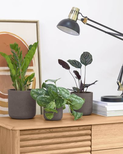 Low set of 3 planters brown