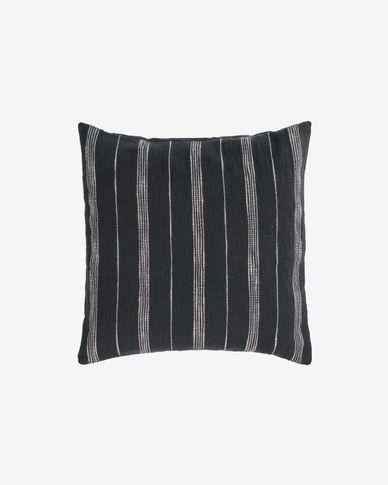 Funda cojín Adalgisa de algodón rayas blanco y negro 45 x 45 cm