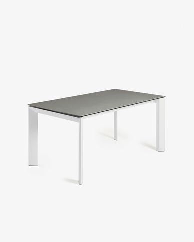 Tavolo allungabile Axis 140 (200) cm porcellanato finitura Hydra Piombo gambe bianco