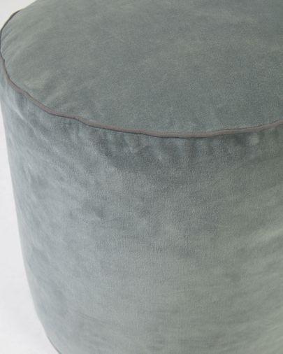 Puf redondo Brunetta de terciopelo turquesa oscuro Ø 40 cm