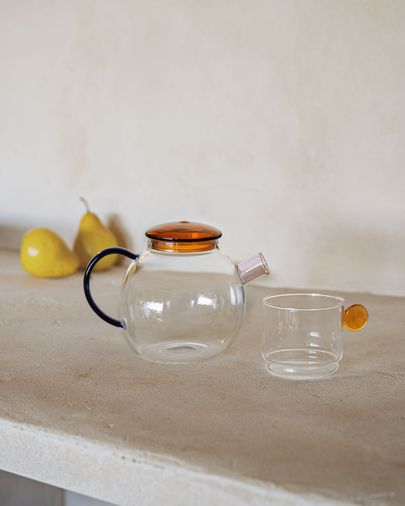 Murielle transparent and orange glass