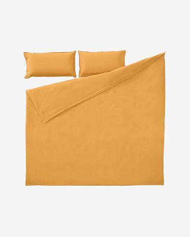 Set Ibelis funda nórdica, bajera y funda almohada algodón orgánico GOTS mostaza 150x190 cm