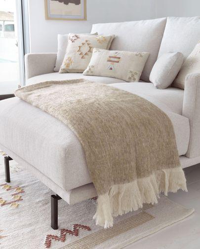 Sofá Galene 3 plazas con chaise longue derecho beige 214 cm