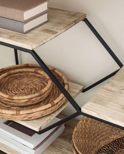Estantería Push de madera maciza de mango y acero negro 80 x 93,5 cm
