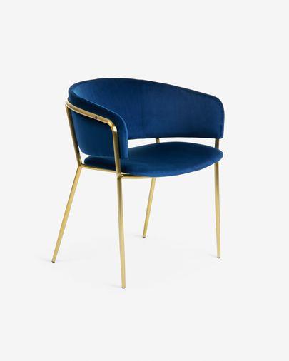 Chaise Runnie velours bleu