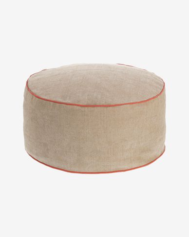 Pouf Dalila in PET beige Ø 60 cm