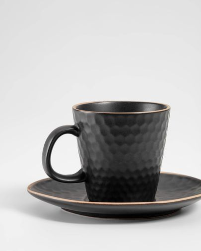 Manami ceramic cup and saucer in black