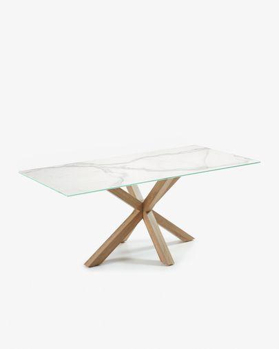 Argo Tisch 200 cm, Porzellan, Holzeffekt Tischbeine