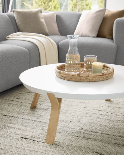 White and ash Dilos coffee table Ø 90 cm