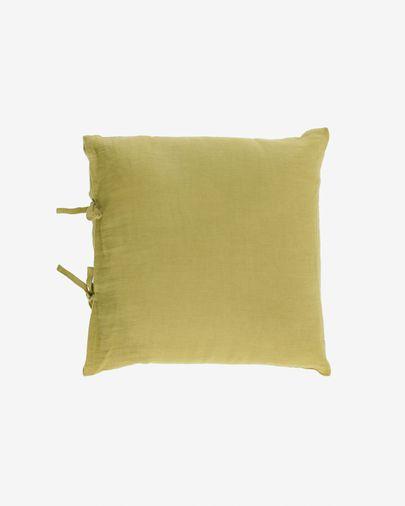 Funda cojín Tazu 100% lino verde 45 x 45 cm