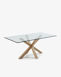 Mesa Argo 200 x 100 cm cristal patas de acero efecto madera