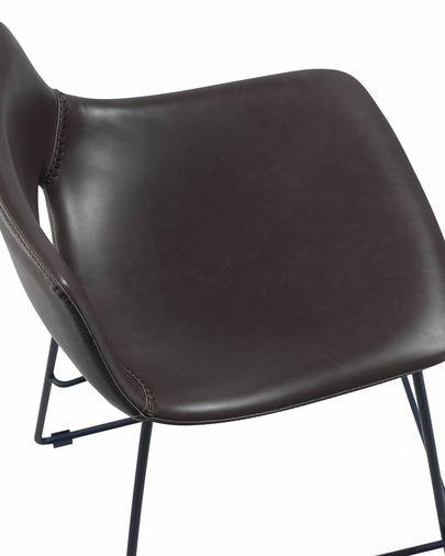 Taburete Zahara piel sintética marrón oscuro y acero con acabado negro altura 76 cm