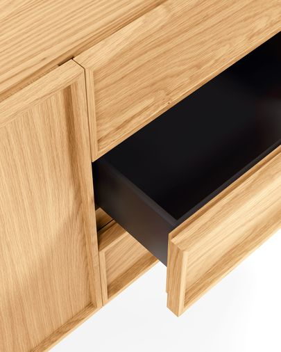 Taiana sideboard with oak veneer and steel frame with black finish 160 x 78 cm