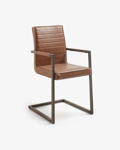 Cadira amb braços Tusk marró òxid