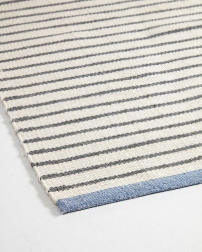 Tapis Catiana en PET rayures gris de 60 x 90 cm