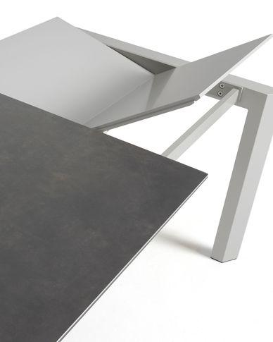 Axis uitschuifbare tafel 140 (200) cm porselein afwerking Vulcano Roca grijs benen