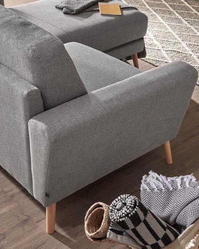 Divano Narnia 3 posti chaise longue grigio chiaro 192 cm