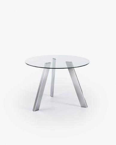 Table Carib Ø 110 cm verre pieds métal