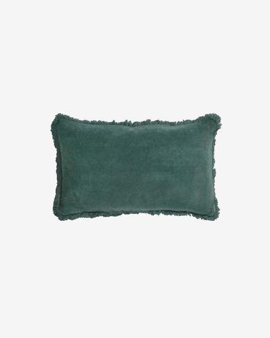 Funda cojín Cedella 100 % algodón terciopelo y flecos verde 30 x 50 cm