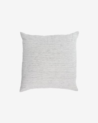 Marena 100% linen cushion cover with black stripes 45 x 45 cm