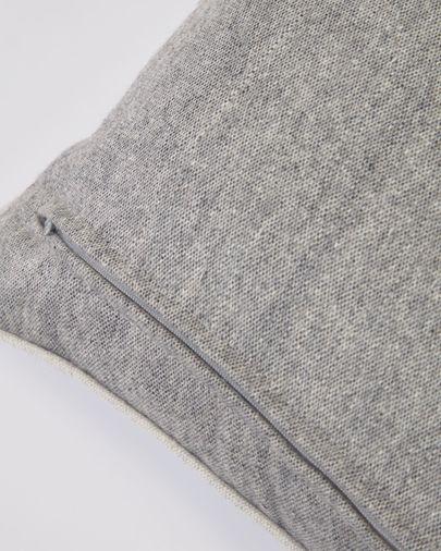 Funda cojín Alcara gris con borde blanco 45 x 45 cm