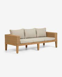 Giana solid acacia wood 3-seater rattan sofa 193 cm (100% FSC)