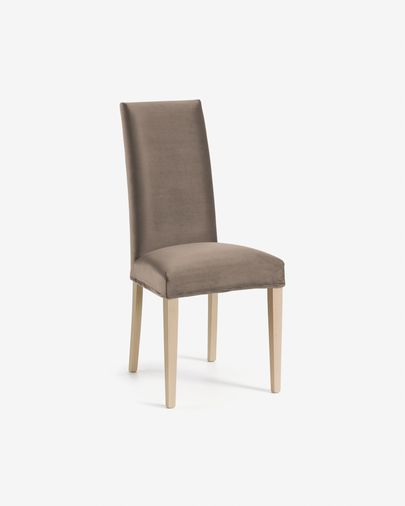 Taupe velvet and natural Freda chair