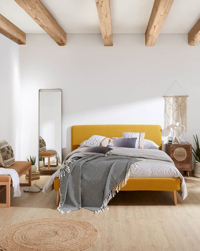 Dyla bed 150 x 190 cm mustard