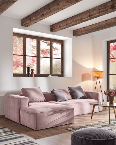 Blok 3-seater sofa with left-hand chaise longue in pink corduroy, 300 cm