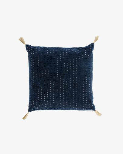 Berenice blauw ribfluwelen kussensloop 45 x 45 cm