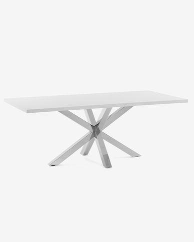 Table Argo 160 cm mélamine blanc pieds en acier inoxydable