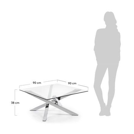 Tavolino Kamido 90 X 90 Cm Piano Vetro Gambe Metallo Kave Home