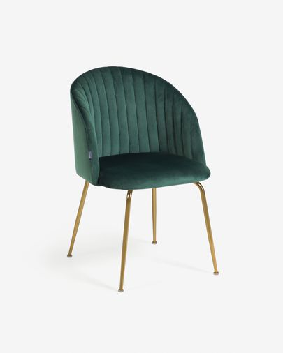 Lumina dark green velvet chair with steel legs with black finish