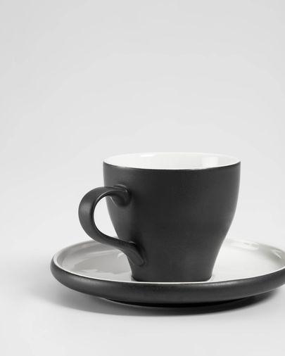 Sadashi porselein koffiekopje met schoteltje zwart-wit