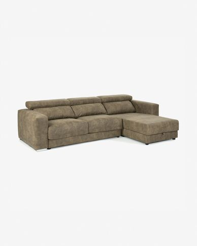 Sofá Atlanta 3 plazas chaise longue marrón pardo 290 cm