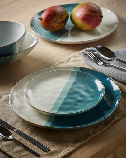 Piatto dessert Nelba bianco e azzurro
