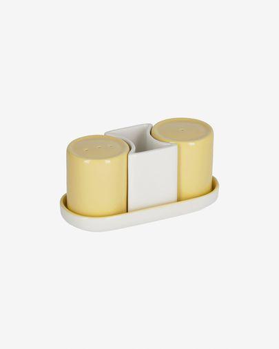 Midori ceramic salt and pepper set in yellow