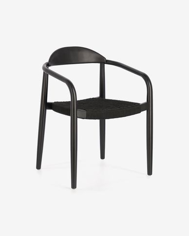 Nina chair in solid eucalyptus, matt black finish with black cord FSC 100%